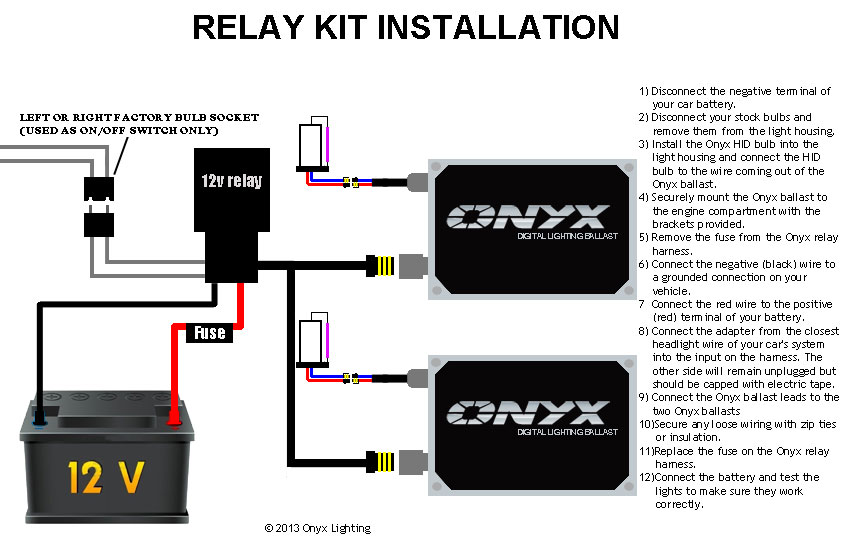 Relay HID Conversion Kit Installation Guide Single